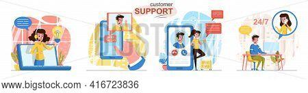 Customer Support Concept Scenes Set. Hotline Operators Advising Clients, Online Help Center, Feedbac