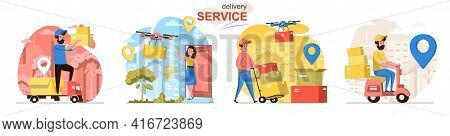 Delivery Service Concept Scenes Set. Courier Delivers Parcel, Drone With Box Flies To Client Home, W