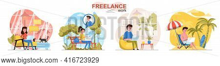 Freelance Work Concept Scenes Set. Freelancers Work On Laptops In Office, At Home, Outdoors, On Vaca
