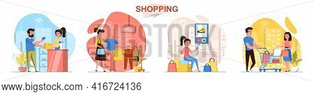 Shopping Concept Scenes Set. Man And Woman Buy Clothes At Sales, Choose Shoes Online, Pay For Purcha