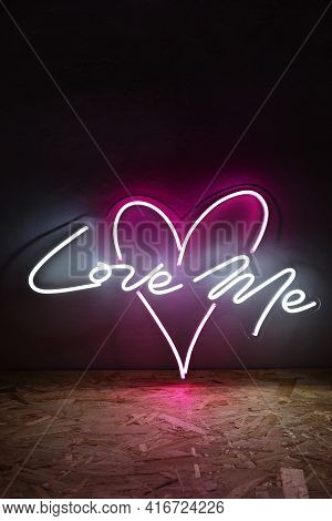 White And Pink Neon Heart With The Inscription Love Me. Trendy Style. Wedding Design Neon Sign. Cust