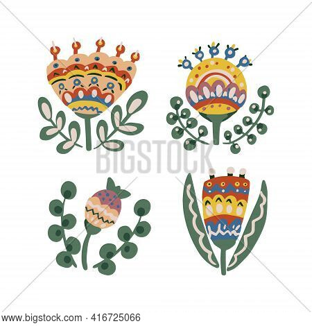 Botanical Elements For Design. Flowers In Folk Ethnic Style. For Making Patterns, Invitations, Postc