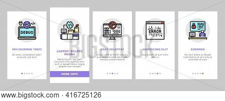 Debug Research And Fix Onboarding Mobile App Page Screen Vector. Debugging Servers And Data Store, D