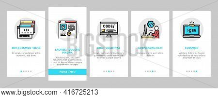 Dev Code Occupation Onboarding Mobile App Page Screen Vector. Dev Application And Software, Hacking