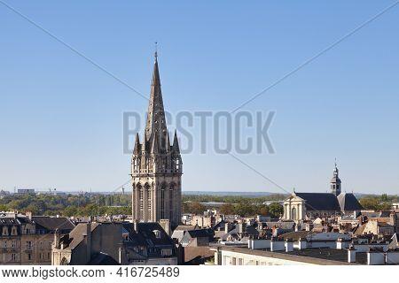 Aerial View Of The Church Of Saint-sauveur And The Church Of Notre-dame-de-la-gloriette In Caen.
