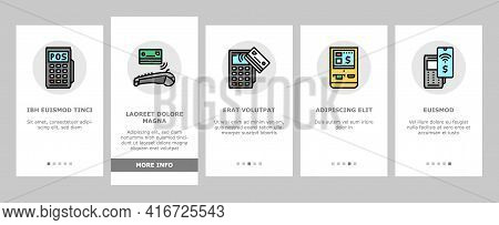 Pos Terminal Device Onboarding Mobile App Page Screen Vector. Pos Terminal For Accept Payment By Con