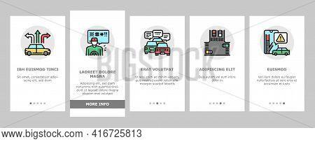 Traffic Jam Transport Onboarding Mobile App Page Screen Vector. Broken Car And Accident, Traffic Lig