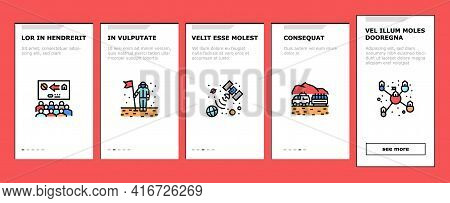 Space Base New Home Onboarding Mobile App Page Screen Vector. Space Base Construction And Greenhouse