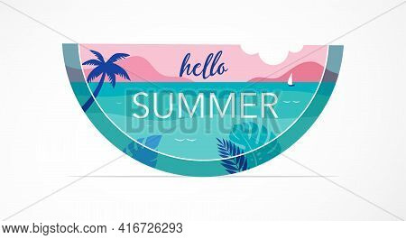 Summer Time Fun Concept Design. Creative Background Of Landscape, Panorama Of Sea And Beach On Water