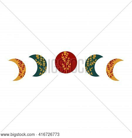 Moon Phases With Full And Crescent Moon In Boho Colors And Floral Lace Ornament. Islamic Religious S