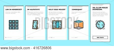 Mirror Installation Onboarding Mobile App Page Screen Vector. Silver, Bronze Or Graphite Mirror, Mak