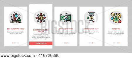 Wealth Finance Capital Onboarding Mobile App Page Screen Vector. Millionaire Money Wealth And Financ