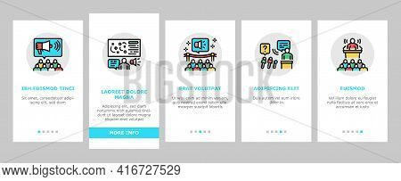 Pr Public Relations Onboarding Mobile App Page Screen Vector. Pr Strategy And Events, Interview And