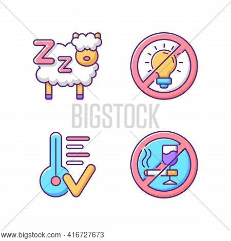 Sleep Hygiene Rgb Color Icons Set. Counting Sheeps Before Bedtime. No Brightness. Comfortable Bedroo