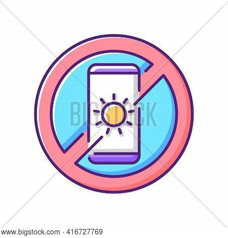 No Devices Rgb Color Icon. Digital Detox. Avoid Bright Mobile Screen Before Bedtime. Limit Smartphon