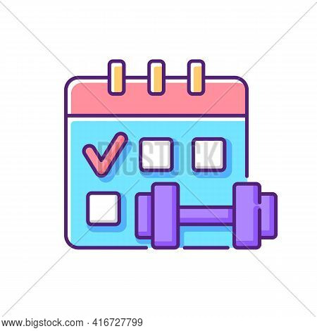 Regular Exercise Rgb Color Icon. Calendar To Track Gym Attendance. Routine For Workout. Fitness Sche
