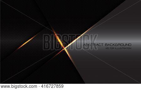 Abstract Geometric Black Hexagon Mesh Gold Light Cross Shadow With Grey Metallic Blank Space Design