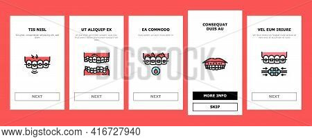 Tooth Braces Accessory Onboarding Mobile App Page Screen Vector. Tooth Braces Installation And Corre
