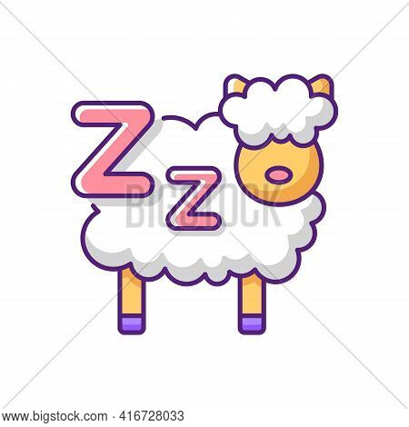 Counting Sheeps Rgb Color Icon. Mental Exercise To Improve Sleep. Treatment For Sleeplessness. Bedti