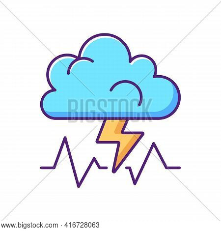 Stress Rgb Color Icon. Concept Of Bad Mood, Depression And Anxiety. Thunderstorm, Cloud With Lightni