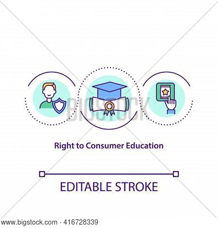 Right To Consumer Education Concept Icon. Right To Acquire Knowledge And Skill To Be Informed Consum