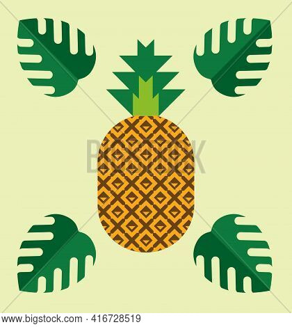 Fresh Pineapple With Leaves, Whole Fresh Tropical Summer Fruit, Ananas, Modern Graphic Flat Style, H