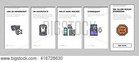 Rfid Chip Technology Onboarding Mobile App Page Screen Vector. Security Card And Trinket, Developmen