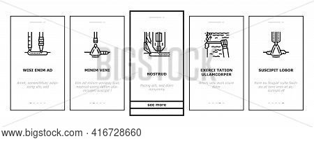 Welding Machine Tool Onboarding Mobile App Page Screen Vector. Welding Equipment And Electrodes, Man