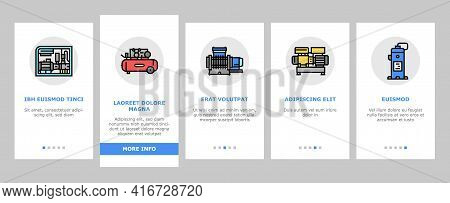 Air Compressor Tool Onboarding Mobile App Page Screen Vector. Screw And Piston, Membrane And Centrif