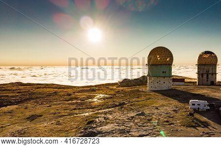 Torre Mountain Peak Of Serra Da Estrela Or Star Mountain Range With Abandoned Observatory. The Highe