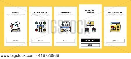 Logistics Business Onboarding Mobile App Page Screen Vector. Ship And Airplane Shipment, Eco Deliver