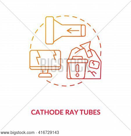 Cathode Ray Tubes Concept Icon. E-waste Component Idea Thin Line Illustration. Crt Glass Recycling.