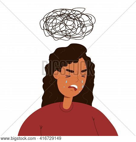 Unhappy Exhausted Woman Crying With Dark Mess Thundercloud Above Her Head. Depression, Life Difficul