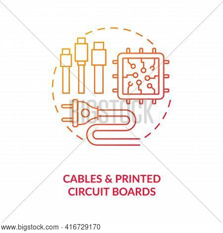 Cables And Printed Circuit Boards Concept Icon. E-waste Component Idea Thin Line Illustration. Recyc