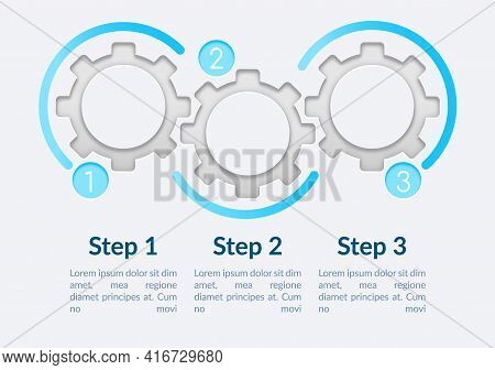 Transparent Gears Vector Infographic Template. Simple Presentation Design Elements With Text Space.
