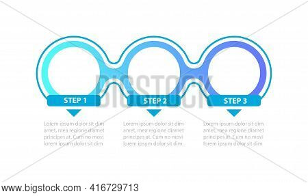 Blue Gradient Circles Steps Vector Infographic Template. Colorful Presentation Design Elements With