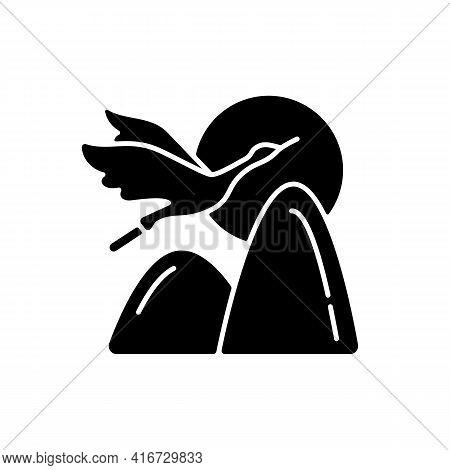 Crane Black Glyph Icon. Chinese Mythology And Symbolism. Double Ninth Festival. Immortality, Longevi