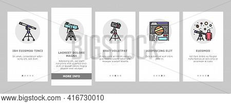 Planetarium Equipment Onboarding Mobile App Page Screen Vector. Planetarium Speaker About Stars And