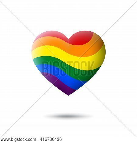 Lgbt Concept - Rainbow Pride Flag Lgbtq Icon In The Shape Of Heart. Abstract Waving Lgbtq Flag. Mult
