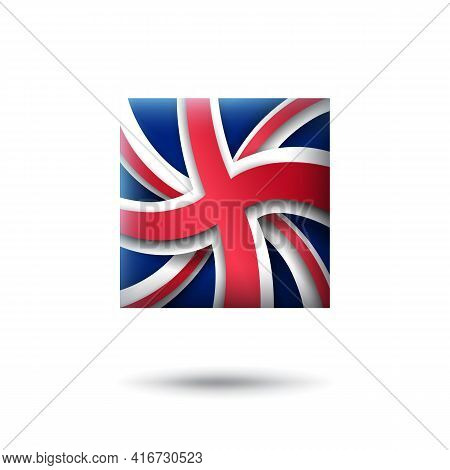 Great Britain Flag Icon In The Shape Of Square. Waving In The Wind. Abstract Flag Of United Kingdom.