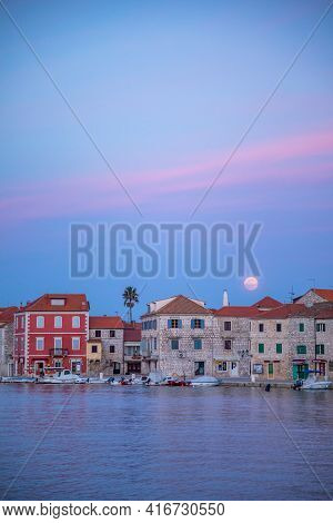 Stari Grad, Croatia - 28.03.2021: Embankment Of Stari Grad Town On The Hvar Island Without People, C