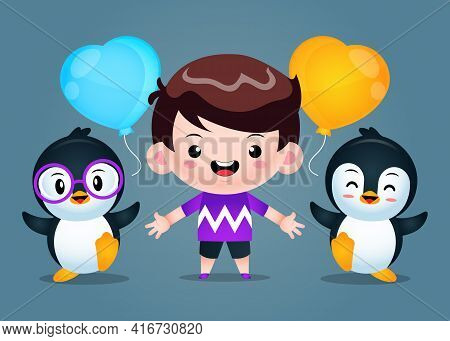 Illustration Vector Graphic Of Cute Boy And Penguins Illustration. Perfect For Children Book Cover,