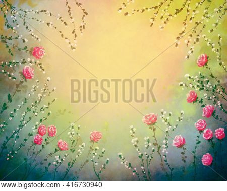 Beautiful Multicolor Delicate Elegant Card Background Frame With Hand Drawn Flowers, Multicolor Fest