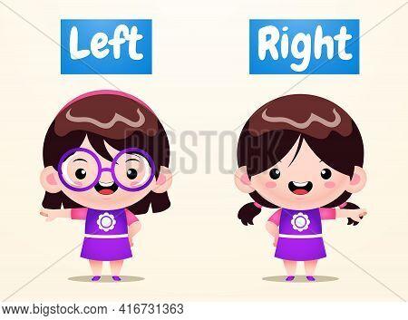 Illustration Vector Graphic Of Cute Girls Opposite Left Right. Perfect For Children Book Illustratio