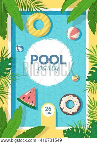 Cartoon Color Summer Pool Party Concept Template Poster Banner Card Set. Vector
