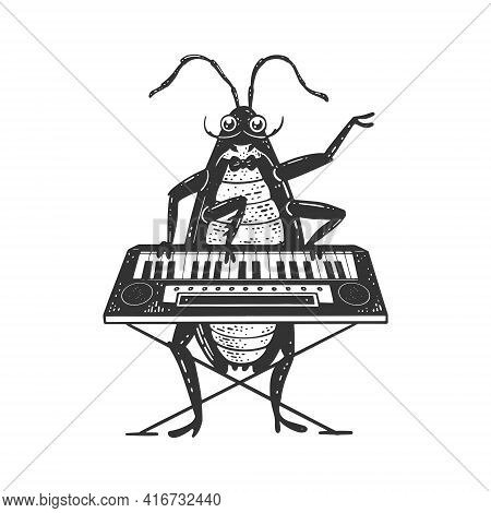 Cartoon Cockroach Orchestra Playing The Synthesizer Piano Sketch Engraving Vector Illustration. T-sh