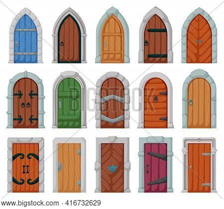 Medieval Door Vector Cartoon Set Icon. Vector Illustration Castle Doors On White Background. Isolate