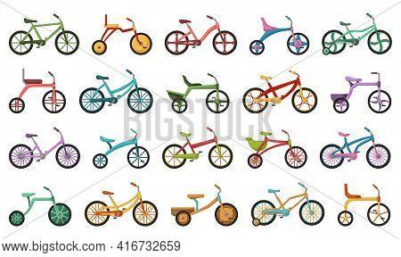 Child Bicycle Isolated Cartoon Set Icon. Vector Illustration Children Bike On White Background. Vect