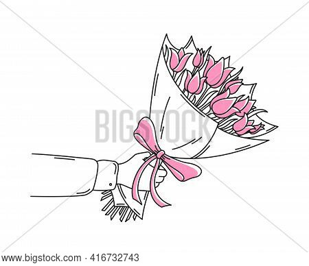 A Man Holds A Bouquet Of Flowers In His Hand. Done In Simple Flat Doodle Style. The Tulip Bouquet Is