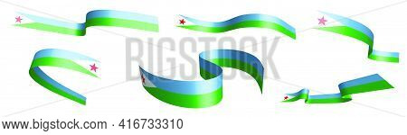 Set Of Holiday Ribbons. Flag Of Djibouti Waving In Wind. Separation Into Lower And Upper Layers. Des